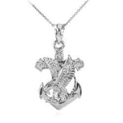925 Sterling Silver Anchor Eagle Diamond Cut Pendant Necklace