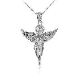 Polished Sterling Silver Angel Pendant Necklace