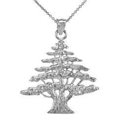 Sterling Silver Lebanese Cedar Tree Pendant Necklace