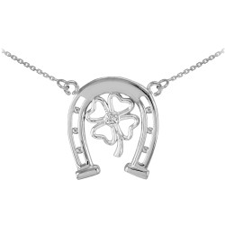 Sterling Silver Irish Lucky Horseshoe Shamroc Clover Necklace