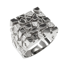 925 Sterling Silver Men's Square Nugget Ring