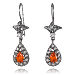 Black Silver Teardrop Garnet CZ Earrings