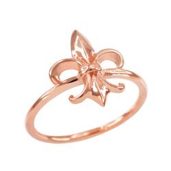 Dainty Rose Gold Fleur-de-Lis Ring