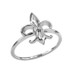 Dainty White Gold Fleur-de-Lis Ring