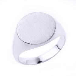 Mens Sterling Silver Round Signet Ring