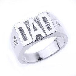Sterling Silver 'DAD' Men's Diamond Ring