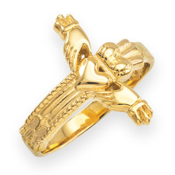 Solid Yellow Gold Irish Claddagh Cross Ring