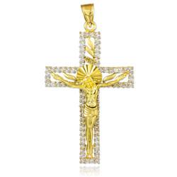 Gold CZ Crucifix Pendant