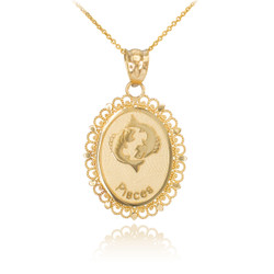 Gold Pisces Zodiac Sign Filigree Oval Pendant Necklace