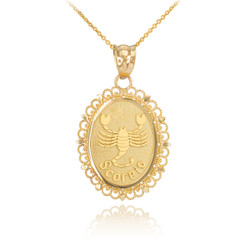 Gold Scorpio Zodiac Sign Filigree Oval Pendant Necklace
