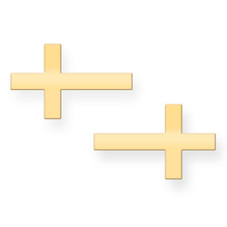 Gold Sideways Cross Post Earrings