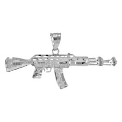 White Gold AK-47 Rifle Pendant