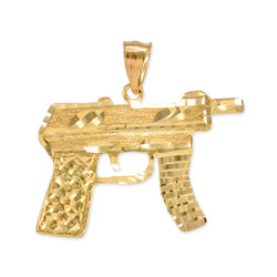 Gold Machine Pistol Gun Diamond-Cut Pendant