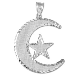 Sterling Silver Islamic Crescent Moon Diamond-cut Pendant
