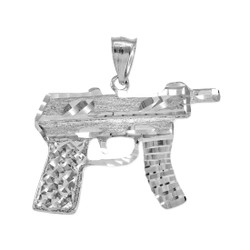 White Gold Machine Pistol Gun Diamond-Cut Pendant