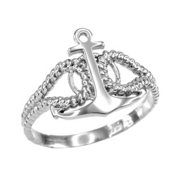 Sterling Silver Marine Knot Ladies Anchor Ring