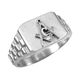 Mens White Gold Masonic Ring