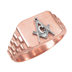Mens Rose Gold Masonic Ring