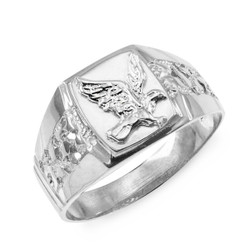 Men's Sterling Silver American Eagle Ring