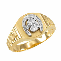 Gold Lucky Horseshoe Ring