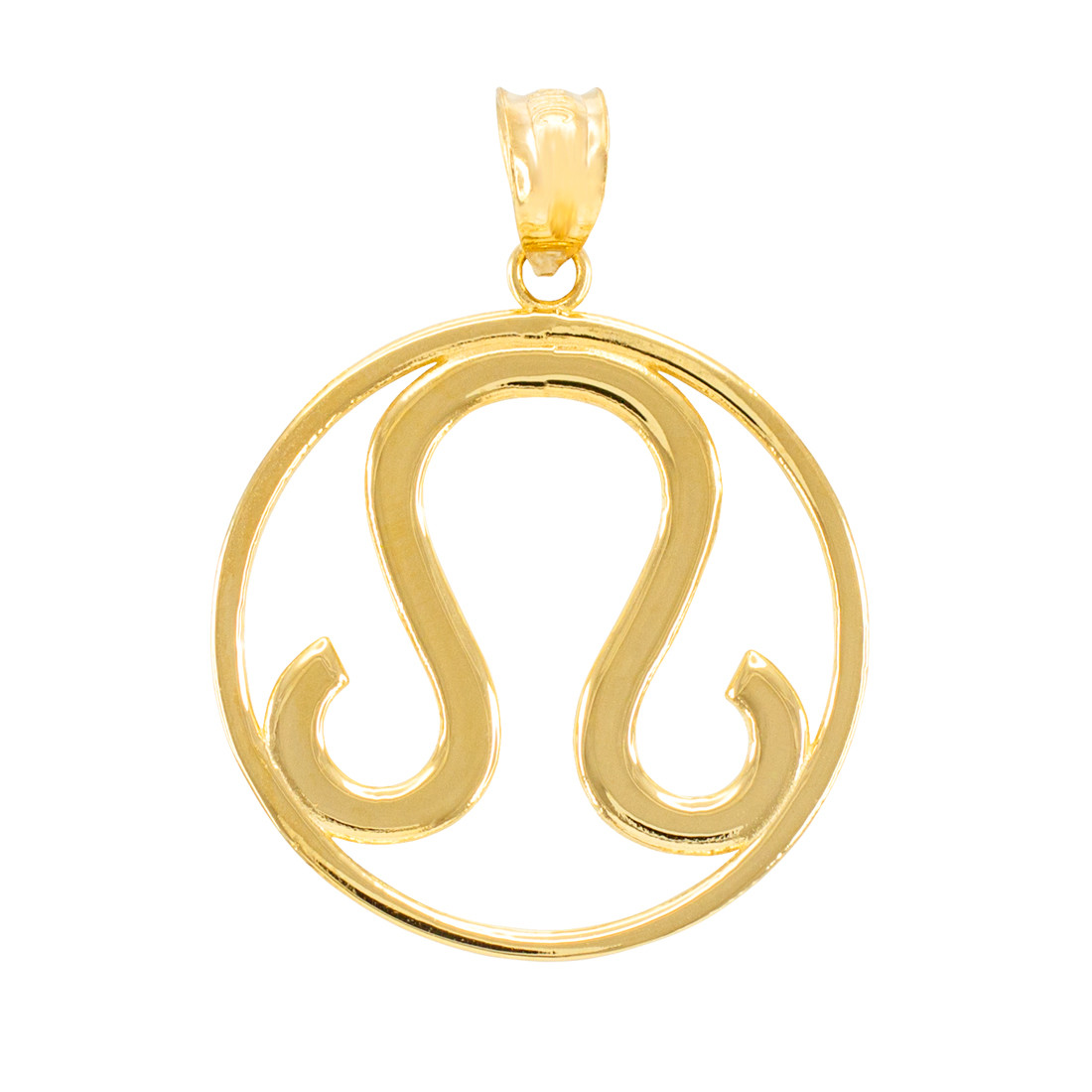 Yellow Gold Leo Zodiac Sign Round Pendant Necklace
