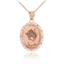 Polished Rose Gold Taurus Zodiac Sign Oval Pendant Necklace