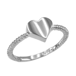 Polished Sterling Silver Heart Love Ring