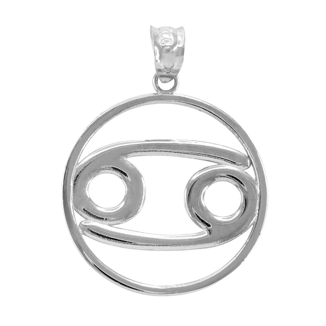LA BLINGZ Sterling Silver Cancer Zodiac Sign Round Pendant Necklace