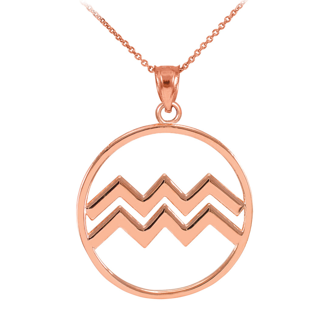 LA BLINGZ 14K Polished Rose Gold Aquarius Zodiac Sign Round Pendant Necklace