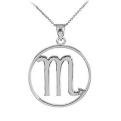Silver Scorpio Zodiac Sign Round Necklace