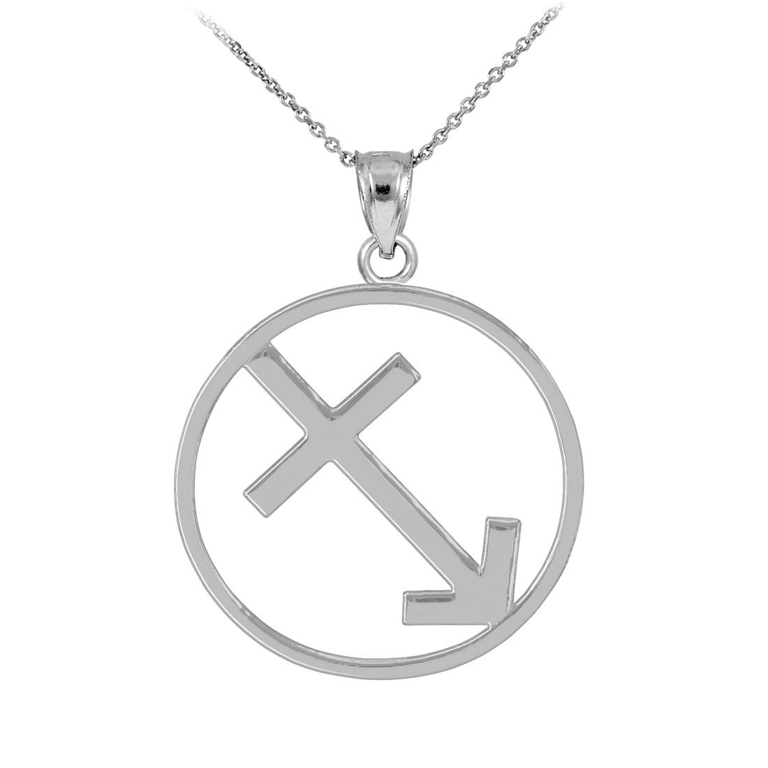 Polished White Gold Sagittarius Zodiac Sign Round Pendant Necklace