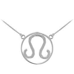 White Gold Leo Zodiac Necklace