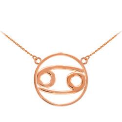 14K Rose Gold Cancer Zodiac Sign Necklace