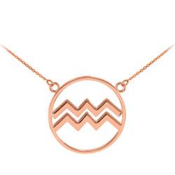 14K Rose Gold Aquarius Zodiac Sign Necklace