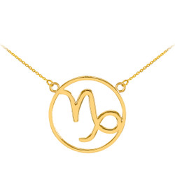 14K Polished Gold Capricorn Zodiac Sign Necklace