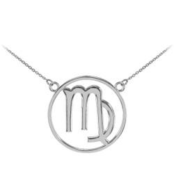 14K White Gold Virgo Zodiac Sign Necklace