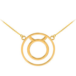 14K Polished Gold Taurus Zodiac Sign Necklace