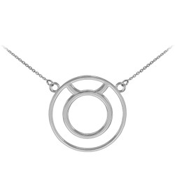 14K White Gold Taurus Zodiac Sign Necklace