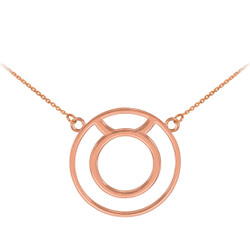 14K Rose Gold Taurus Zodiac Sign Necklace