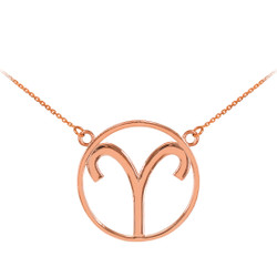 14K Rose Gold Aries Zodiac Sign Necklace