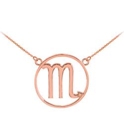14K Rose Gold Scorpio Zodiac Sign Necklace