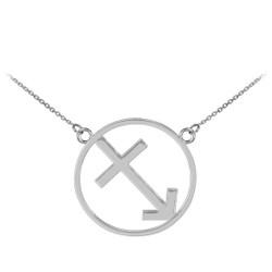 14K White Gold Sagittarius Zodiac Sign Necklace