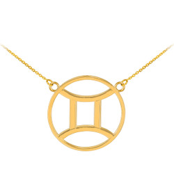14K Polished Gold Gemini Zodiac Sign Necklace