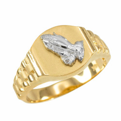 Gold Praying Hands Mens Religious Ring