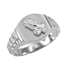 White Gold Praying Hands Mens Religious Ring