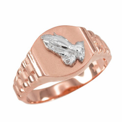 Rose Gold Praying Hands Mens Religious Ring