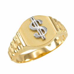 Gold Dollar Sign Ring