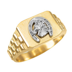 Gold Lucky Horseshoe Mens Rectangular Ring