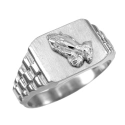 White Gold Praying Hands Mens Rectangular Ring
