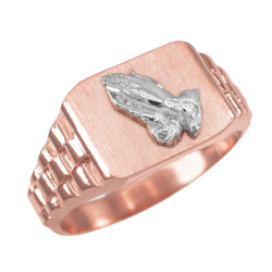 Rose Gold Praying Hands Mens Rectangular Ring